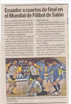 ECUADOR CLASIFICO A CUARTOS DE FINAL
