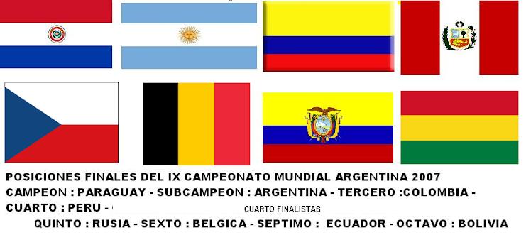 CUADRO DE HONOR Y CUARTOS FINALISTAS DEL IX CAMPEONATO MUNDIAL DE FUTBOL DE SALON