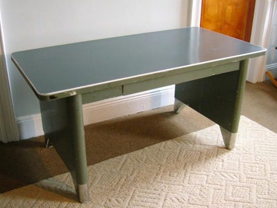 Fantastic early 1960s steel library table by All Steel Equipment  Solid  steel panel sides  with contrast brushed steel feet  laminate table top for  easy. Greenpoint Vintage  Industrial steel  library table  desk    375