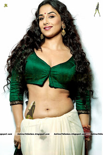 Vidya Balan sexy cleavage boobs navel exposed in sareeless green blouse