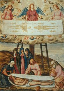 Descenso de la cruz de Giulio Clovio muestra a Jesús envuelto en una sábana similar a la de Turín.