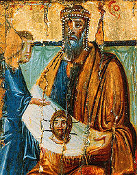 Esta imagen del siglo X muestra a Abgaro de Edesa exhibiendo la Imagen de Edesa.