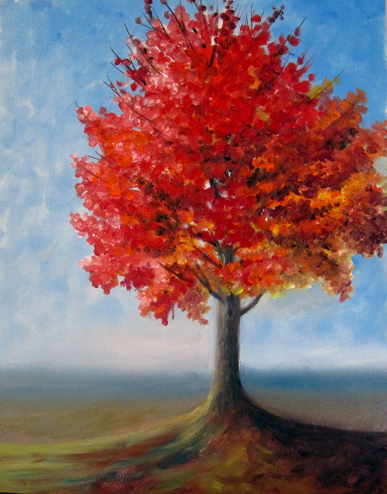 Priti lathia 39 s fine art fall tree plein air for Autumn tree painting