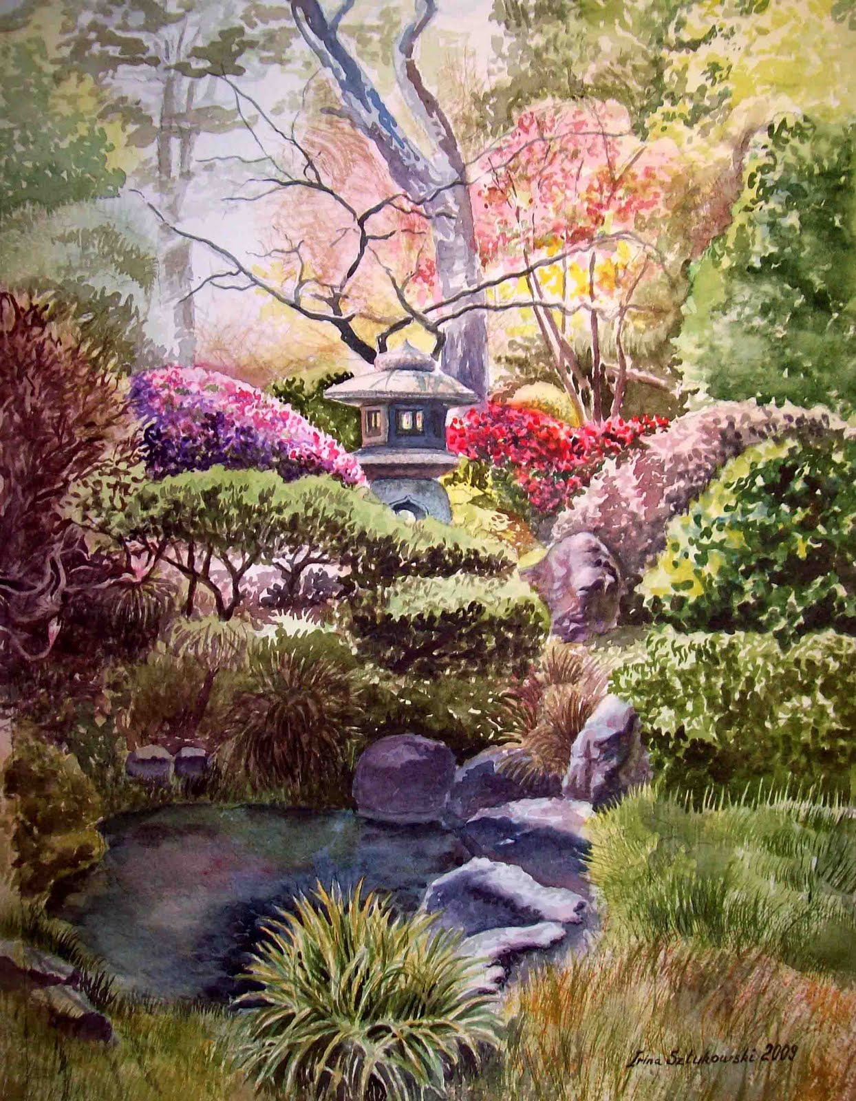 Irina sztukowski fine art japanese garden in golden for Garden painting images