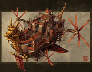 Steampunk airship by James Ng