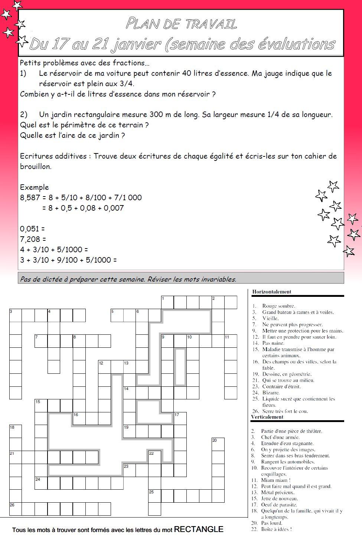 Cm2 b moliere villanueva plan de travail du 17 au 21 janvier for Plan du travail