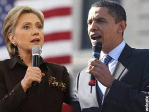 Senator Hillary Clinton, Senator Barack Obama. Campaign 2008.