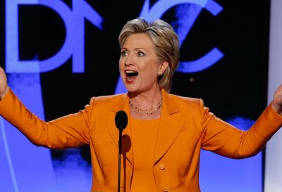 Hillary Clinton speaks at the DNC, Day2, August 26, 2008. photo Getty.