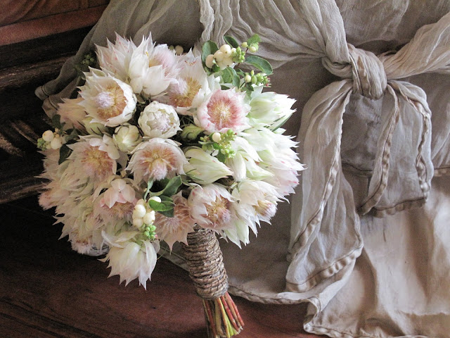 Blushing Bride Protea Bridal Bouquet with Snowberries