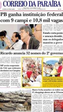 Bombardeios no Natal - Texto publicado na página A6 do Correio da Paraiba de 30/12/2008