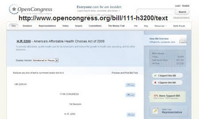 Open Congress.org copy of the Health Care Act of 2009 Bill