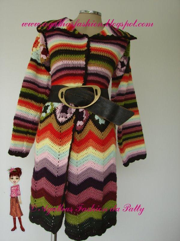 Crochet الكروشية و جاكيت كروشية طويل مع البترون.التلوين بالكروشية.جاكتات كروشية للصبا casacomulticolorido.