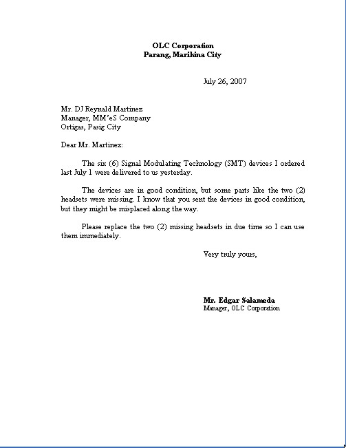 business letter format example. usiness letter format
