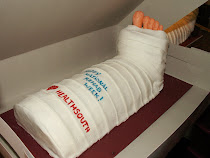 Close up on Broken Leg Cake