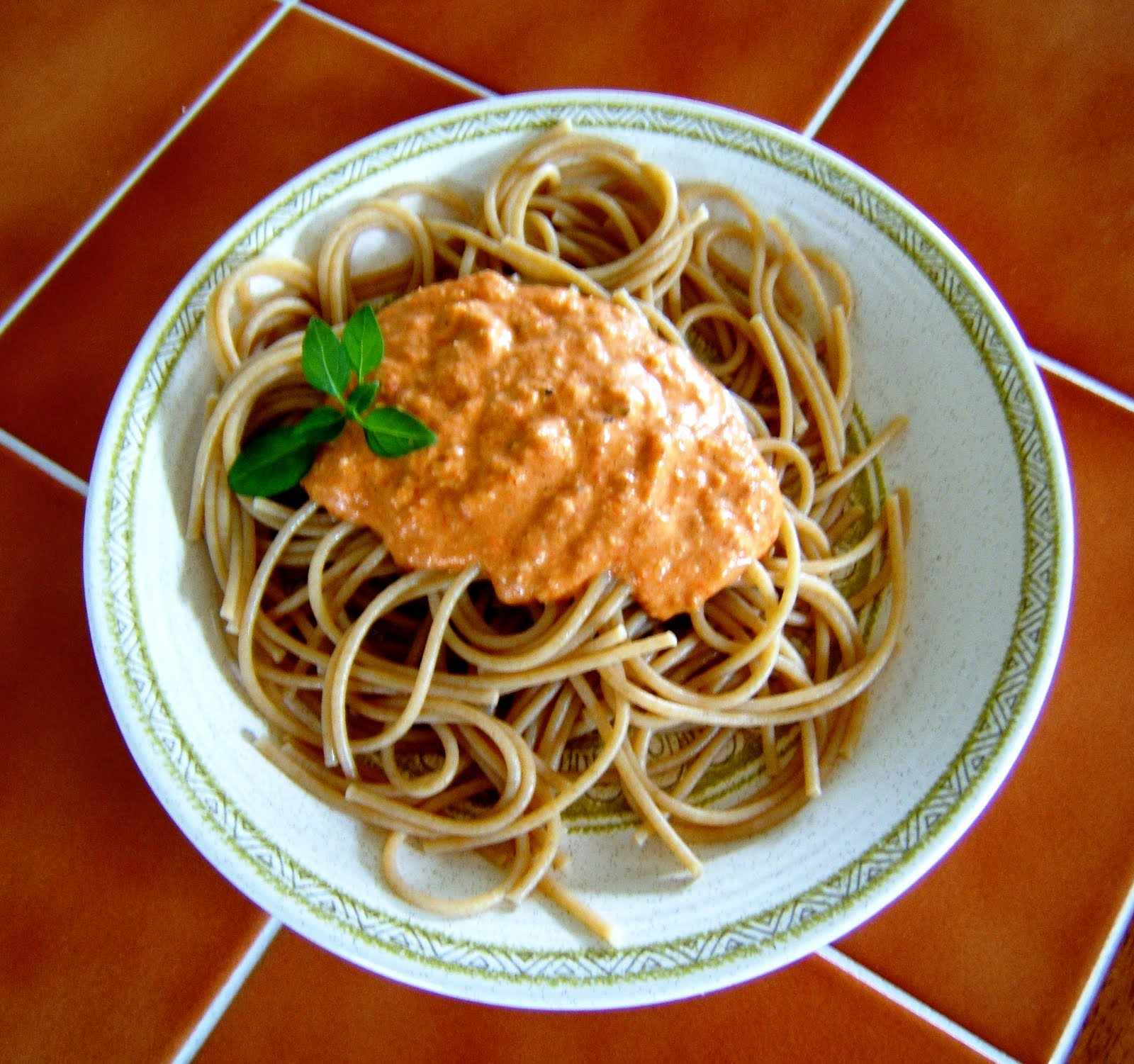 Roasted Red Pepper Cashew Sauce (over Whole Wheat Spaghetti)