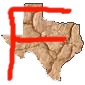 map of Texas with an F written on it