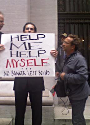 hot protester talking to media