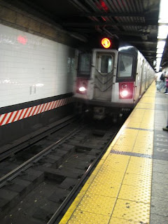 subway train coming into station