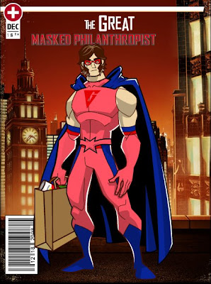 Comic Book Cover with the gay superhero The Great Masked Philanthropist