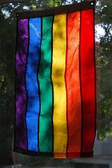 hanging rainbow flag