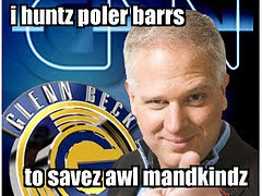 picture of Beck with caption saying I huntz polar bears to savez awl mandkindz