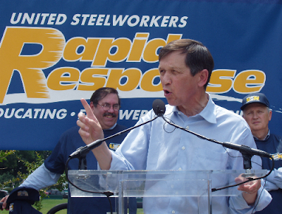 Kucinich speaking at a rally