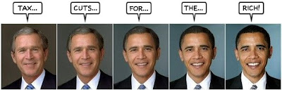five panel graphic with Bush morphing into Obama, each panel having one of the following words: tax cuts for the rich