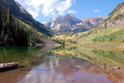 Maroon Bells And Maroon Lake With Ducks
