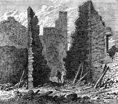 RUINS OF THE BARBICAN ON LUDGATE HILL..Is this a sketch of centuries of abuse and neglect or the aftermath of the severe German bombings of London in this area ?..I DON'T KNOW,SO IT IS UP TO YOU IF YOU ARE INTERESTED IN THE 'TRUTH'
