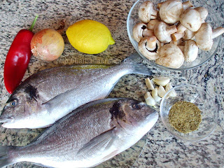 Dorada la cuptor cu ciuperci si legume Ingrediente reteta