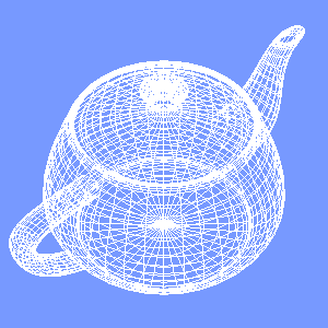 JOGLで描画したワイヤーフレームのティーポット