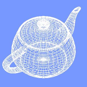 groovyとJOGLで描画したワイヤーフレームのティーポット