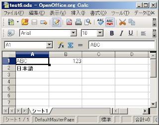 SimpleODSで太字に設定したセル