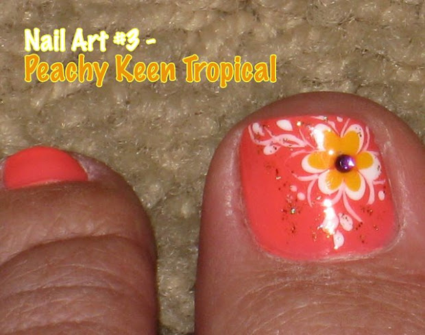 nail art #4 - peachy keen tropical