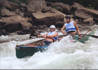 Zack & Zane racing at an ACA Whitewater Downriver National Championship