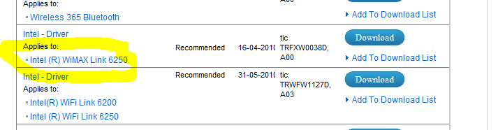 intel wimax driver for windows 7
