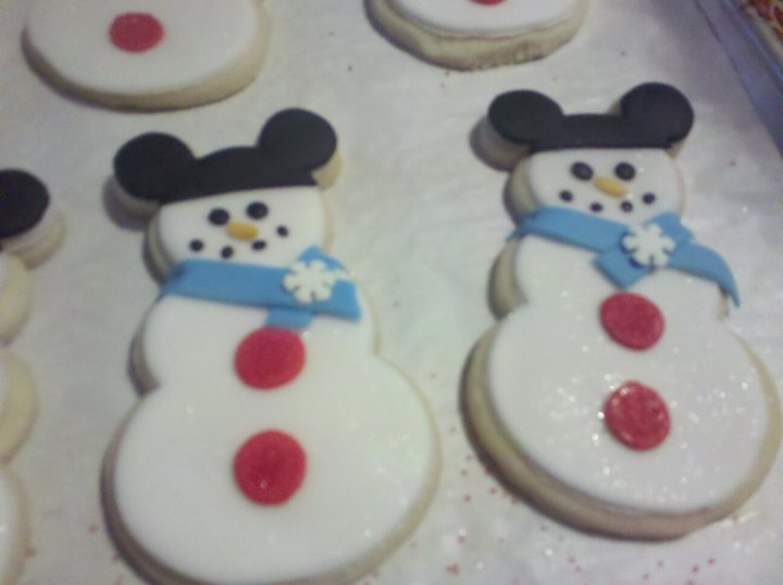S and j delights mickey mouse hat on snowman cookies