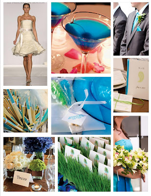 A fun blue and green wedding Don 39t you love it the simplicity the beauty