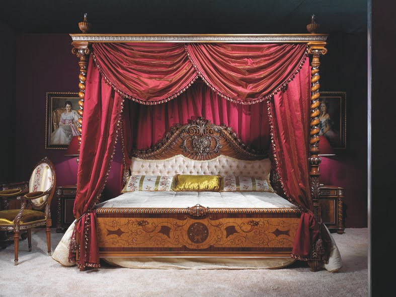 Ultra-luxury-amazing-Rococo-style-bedroom-with-amazing-wood-platform-bed-with-canopy-and-heavy-purple-curtains-and-white-soft-headboard-and-a-chair