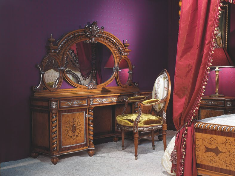 Ultra-luxury-amazing-Rococo-style-bedroom-with-marvelous-wood-bed-set-with-luxurius-dressing-table-with-soft-chair-and-mirror