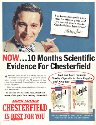 Pseudoscience tobacco advertising from the bad old days