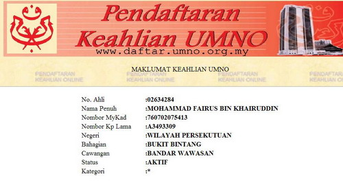 Dari Umno Fairus Datang Kpd Umno Dia Kembali-ALFATIHAH