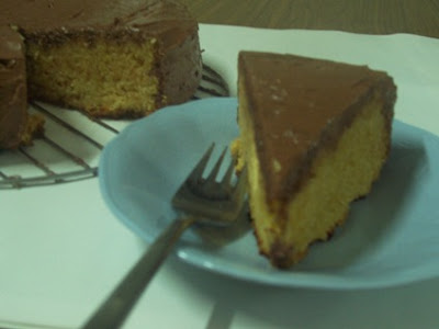 Plain Eggless Cake with Creamy Chocolate Frosting
