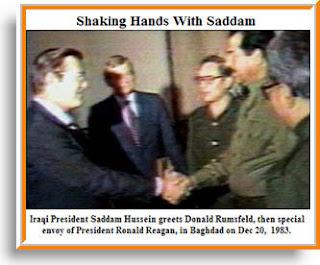Saddam Hussein greets Donald Rumsfeld