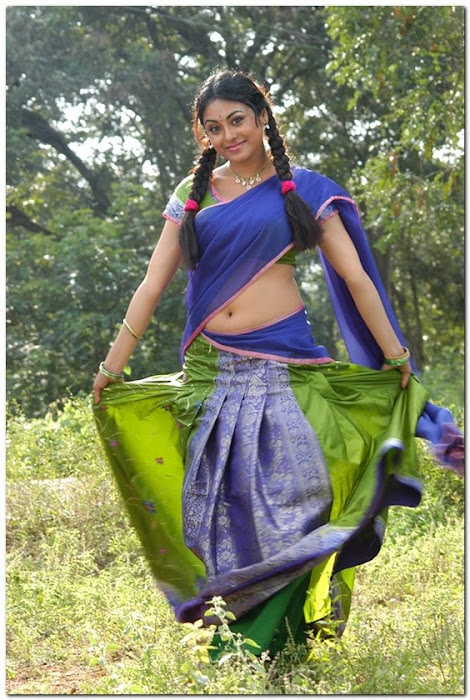 meenakshi girl ing her on half saree hot photoshoot