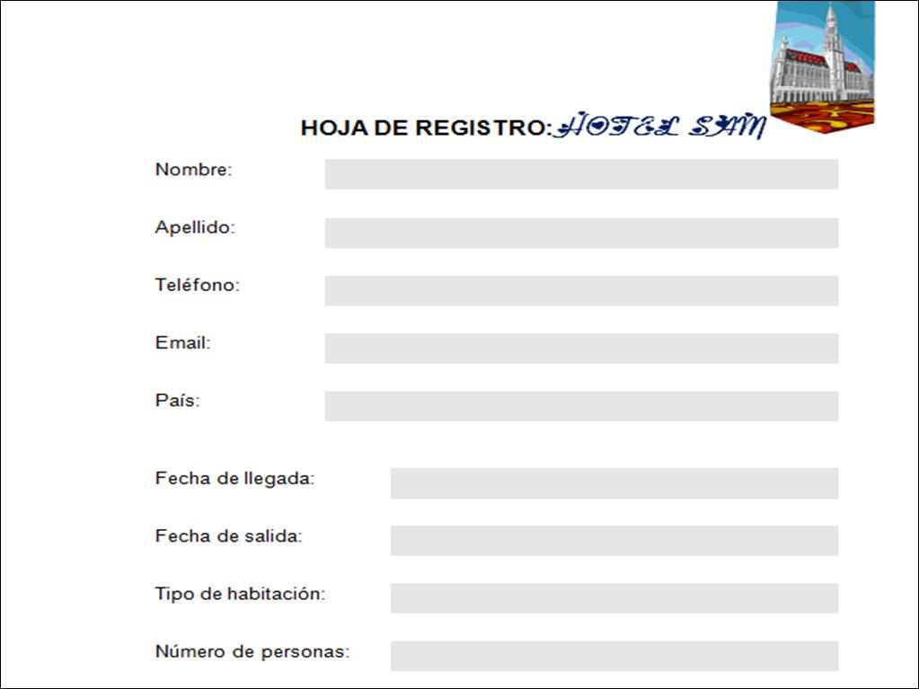 hoja registro de hotel