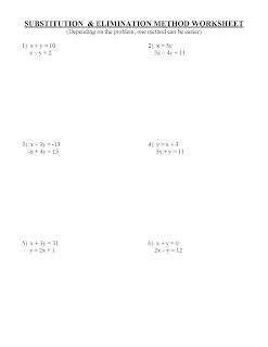 Printables Substitution And Elimination Worksheet elimination worksheet davezan