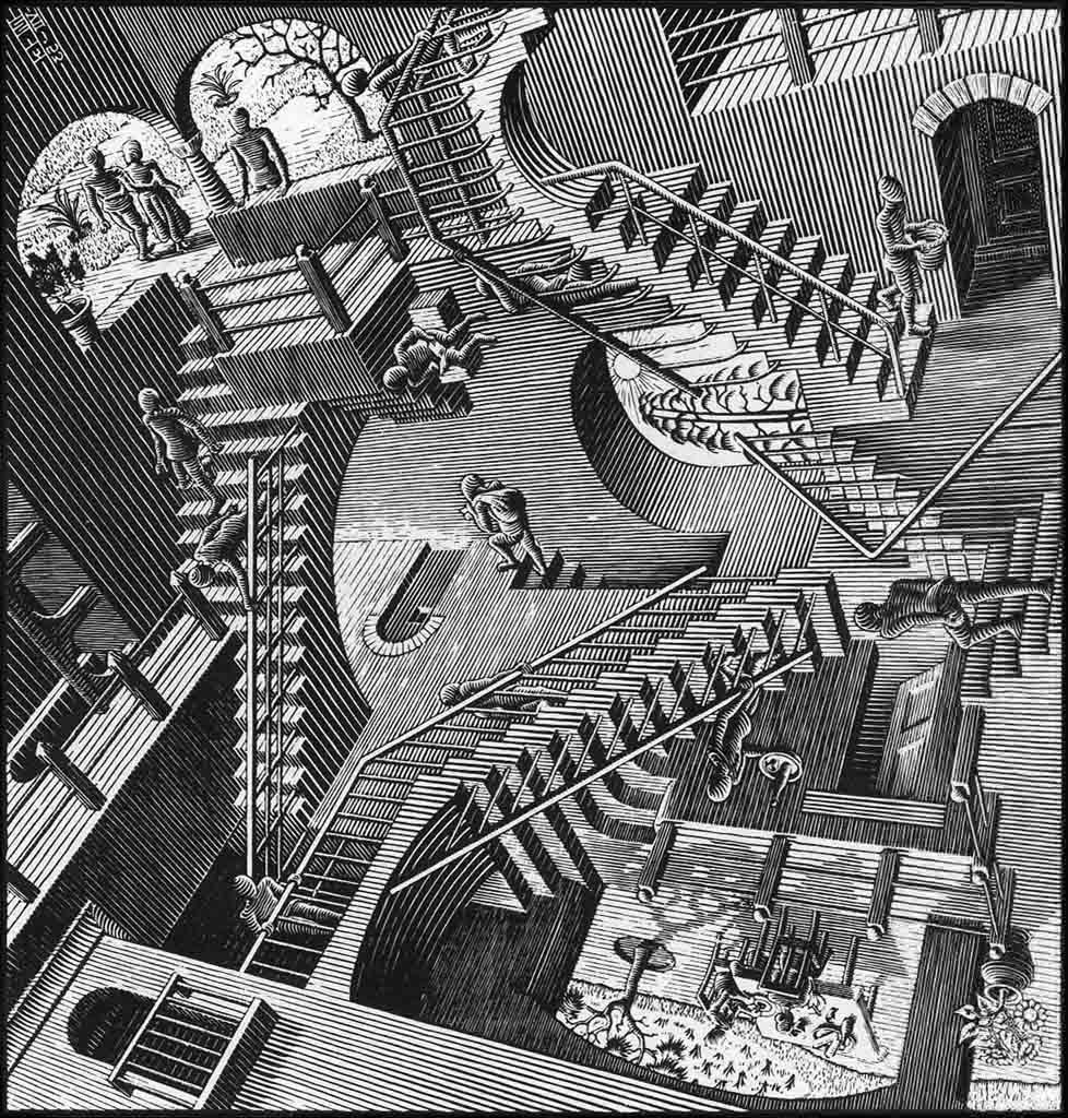 an analysis of the mc escher on the perspective in day and night Unique perspectives escher traveled to the mediterranean in the early 1920s and was profoundly influenced by the wonders of the moor-designed alhambra palace in sculptor augusta savage was one of the leading artists of the harlem renaissance as well as an influential activist and arts educator.