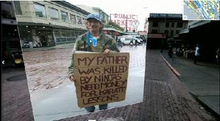 Meu pai foi morto por ninjas, preciso de dinheiro para aulas de caratê. Fotos trazidas da Web e integradas em seus mapas.