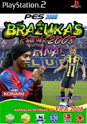 Capa de uma das versões do Brazucas. Uma das famosas versões modificadas não autorizadas do Winning Eleven, Atualmente rebatizado de Pro Evolution Soccer, da Konami